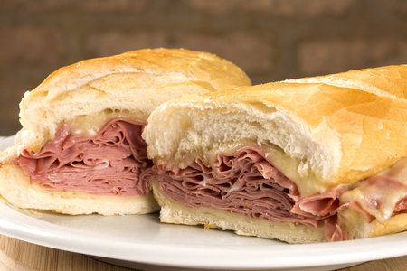 Mortadella sandwich, Italian sausage. Stock Photo