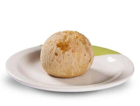 pao: Brazilian cheese buns in white background. Pao de queijo. Stock Photo