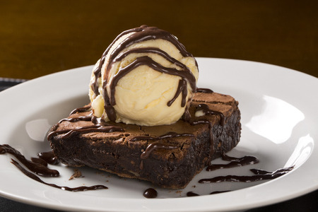 Chocolate Brownie with Vanilla Ice Cream in the plate.