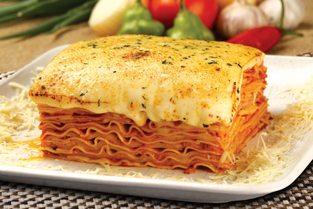 bolognese sauce: Lasagna with bolognese sauce. Stock Photo
