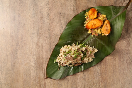 plantain: dried meat risotto with plantain