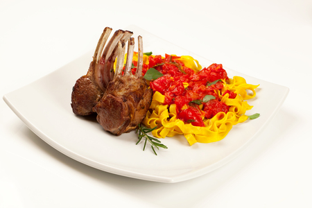 lamb chop: Fettuccine with lamb chop.