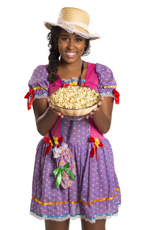 festa: Girl wearing generic caipira clothes as in every Festa Junina or Country Festivals in Brazil Stock Photo
