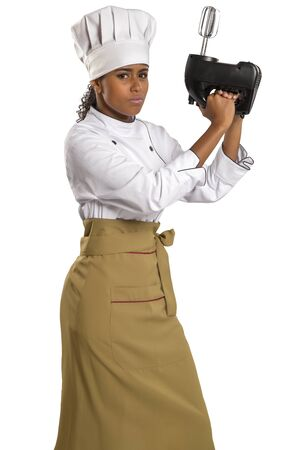 electric mixer: Woman cook in chef hat with electric mixer, isolated on white background.
