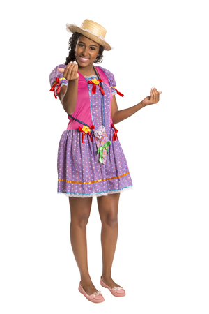 Girl wearing generic caipira clothes as in every Festa Junina or Country Festivals in Brazil 版權商用圖片