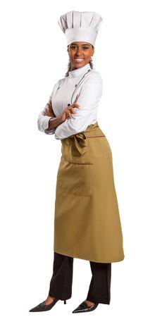 half length portrait: half length portrait of african american female chef over white