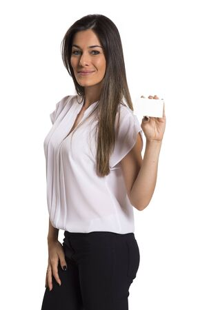 businesswoman card: Businesswoman holding a blank card in white background