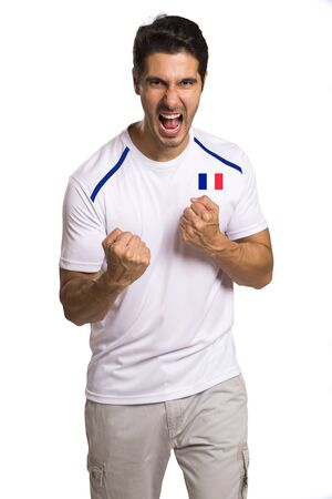 football fans: French football fans celebrating in white background. Stock Photo