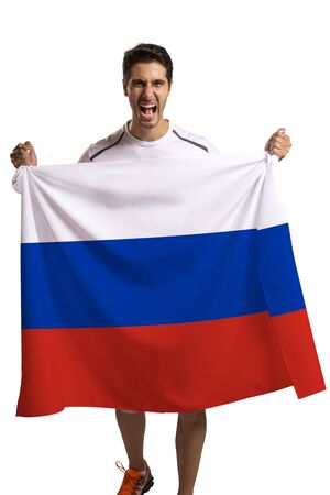 nationalistic: Fan holding the flag of Russia celebrates on white background. Stock Photo