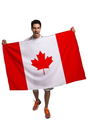 canadian football: Canadian fan celebrates on white background