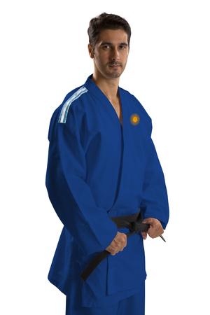 argentine: Argentine judo fighter on white background Stock Photo