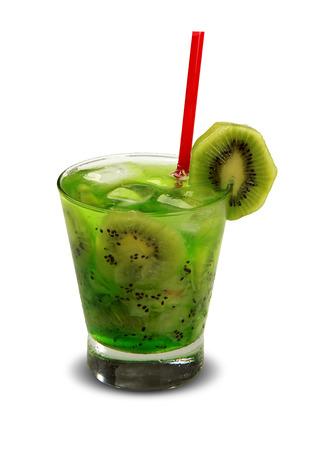 Drink fresh kiwi with ice isolated on white background. Caipirinha.