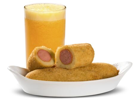 white backgroung: Sausage fried snacks. Brazilian snacks on white backgroung