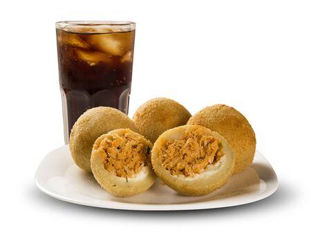 Brazilian snack. chicken dumpling with curd on white background 版權商用圖片