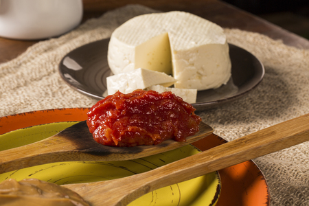 romeo juliet: Typical Brazilian specialty: guava paste with white cheese, locally known as Romeo & Juliet. Stock Photo