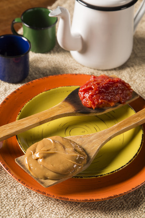 Typical Brazilian specialty: guava paste with white cheese, locally known as Romeo & Juliet. Stock Photo