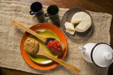 juliet: Typical Brazilian specialty: guava paste with white cheese, locally known as Romeo & Juliet. Stock Photo