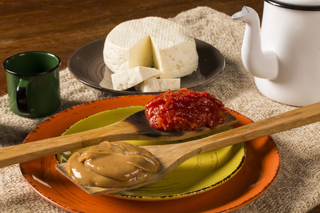 romeo: Typical Brazilian specialty: guava paste with white cheese, locally known as Romeo & Juliet. Stock Photo