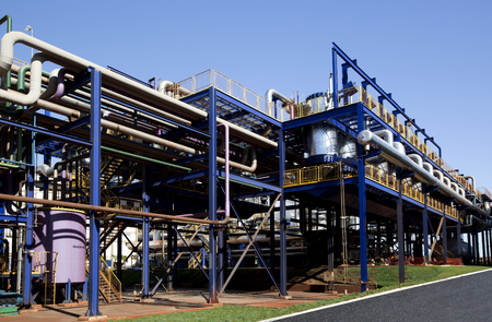 blackout: sugar cane industrial mill processing plant in Brazil Stock Photo