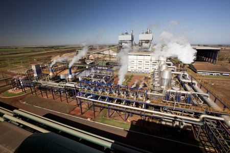 blackout: sugar cane industrial mill processing plant in Brazil Editorial