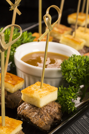 skewer: meat skewer with curd cheese Stock Photo