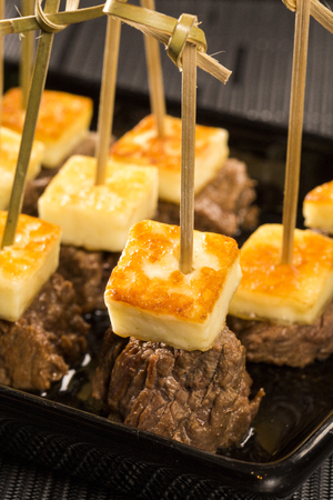 curd: meat skewer with curd cheese Stock Photo