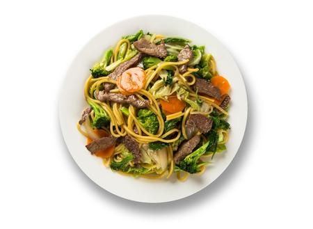 Thai food Pad thai , Stir fry noodles with shrimp, meat and vegetables