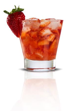Fresh made Strawberry Caipirinha on white background