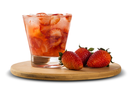 caipirinha: Fresh made Strawberry Caipirinha on white background