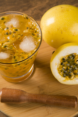 caipirinha: Passion Fruit Caipirinha of Brazil on wooden background