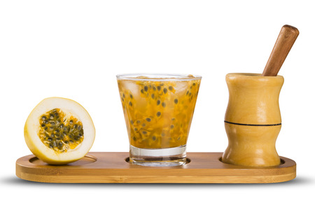 caipirinha: Fresh drink made with passion fruit Caipirinha on white background