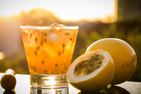 caipirinha: Passion Fruit Caipirinha of Brazil in sunset