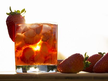 tropica: Fresh made Strawberry Caipirinha. Stock Photo