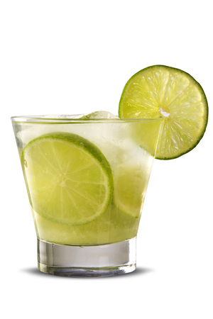 caipirinha: Lemon Fruit Caipirinha of Brazil on white background Stock Photo