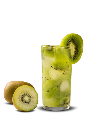 caipirinha: Kiwi Fruit Caipirinha of Brazil on white background