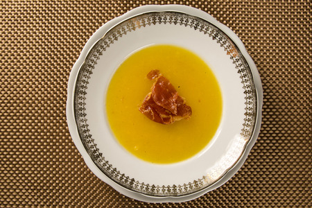 yam: Pumpkin Soup with proschiuto on table
