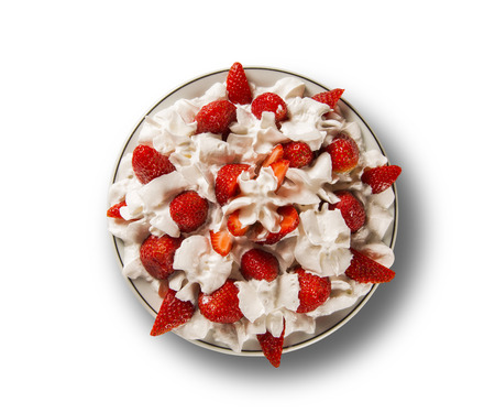 morsel: Strawberry with chantilly cream in a dish in white background Stock Photo