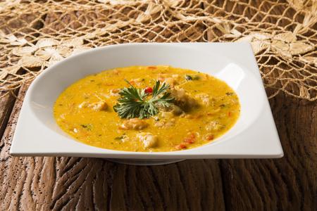 shrimp bobo - a Brazilian dish of shrimp in a pure of manioc meal and coconut milk Stock Photo