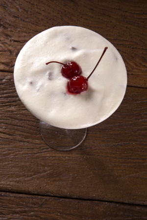 pannacotta: Delicious Italian dessert Pannacotta with chocolate and cherry