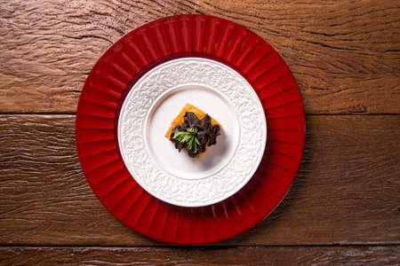 shitake: Traditional fried polenta with shitake