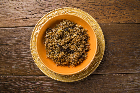 made russia: Kutya cereal dish, native to Russia and Ukraine, made from wheat berries, poppy seeds and honey Stock Photo