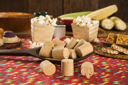 Pacoca - brazilian candy of ground peanut of festivity festa junina decoration. Stock Photo