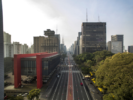 Sao Paulo, Brazil. Aerial view on Paulista Avenue, in Sao Paulo city