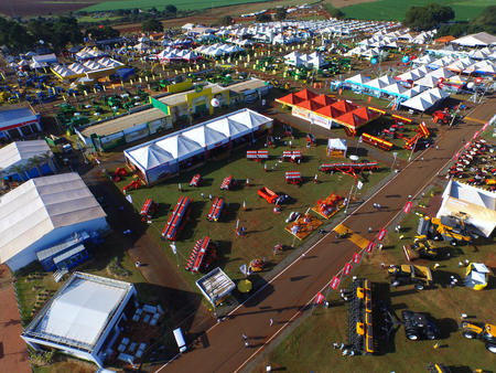 SAO PAULO, BRAZIL - May 1, 2017: Aerial view of Agrishow, 24th International Trade Fair of Agricultural Technology taking place in Ribeirao Preto. Editorial