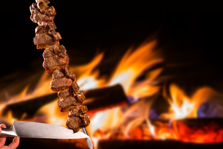 Tibon, traditional Brazilian barbecue.