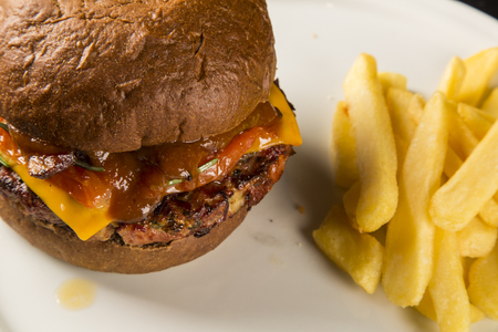 Tasty grilled burger with cheddar, barbecue sauce and frieds