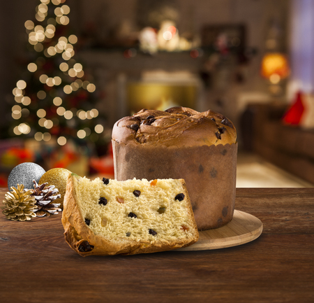 Christmas decoration with Panettone. Christmas Blurry background.