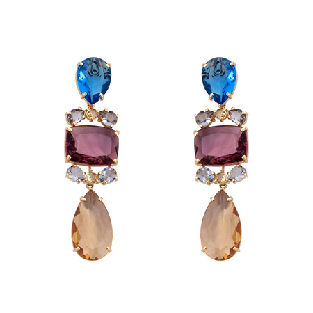 Golden earrings with gemstone isolated on white background