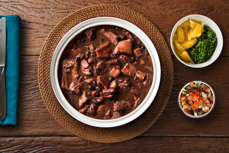 Brazilian Feijoada Food. Top view. Stock Photo