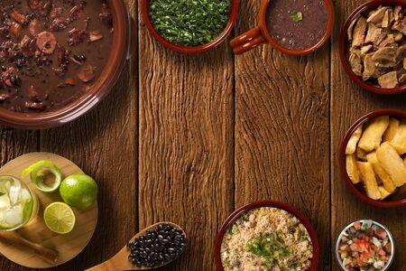 Brazilian Feijoada Food. Top view with copy space Standard-Bild